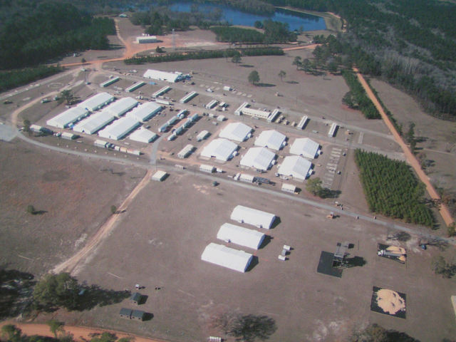temporary military base camp structure