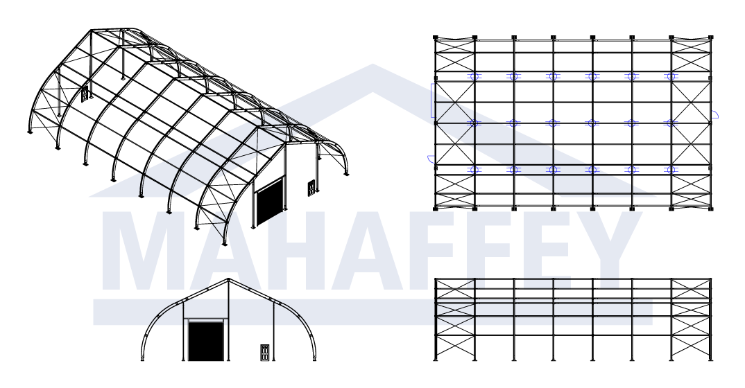 CAD Drawings of Mahaffey Tension Series™ (MTS) Temporary Fabric Structure
