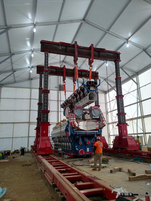 Crane used to assemble the massive engines located inside 36 ft structure