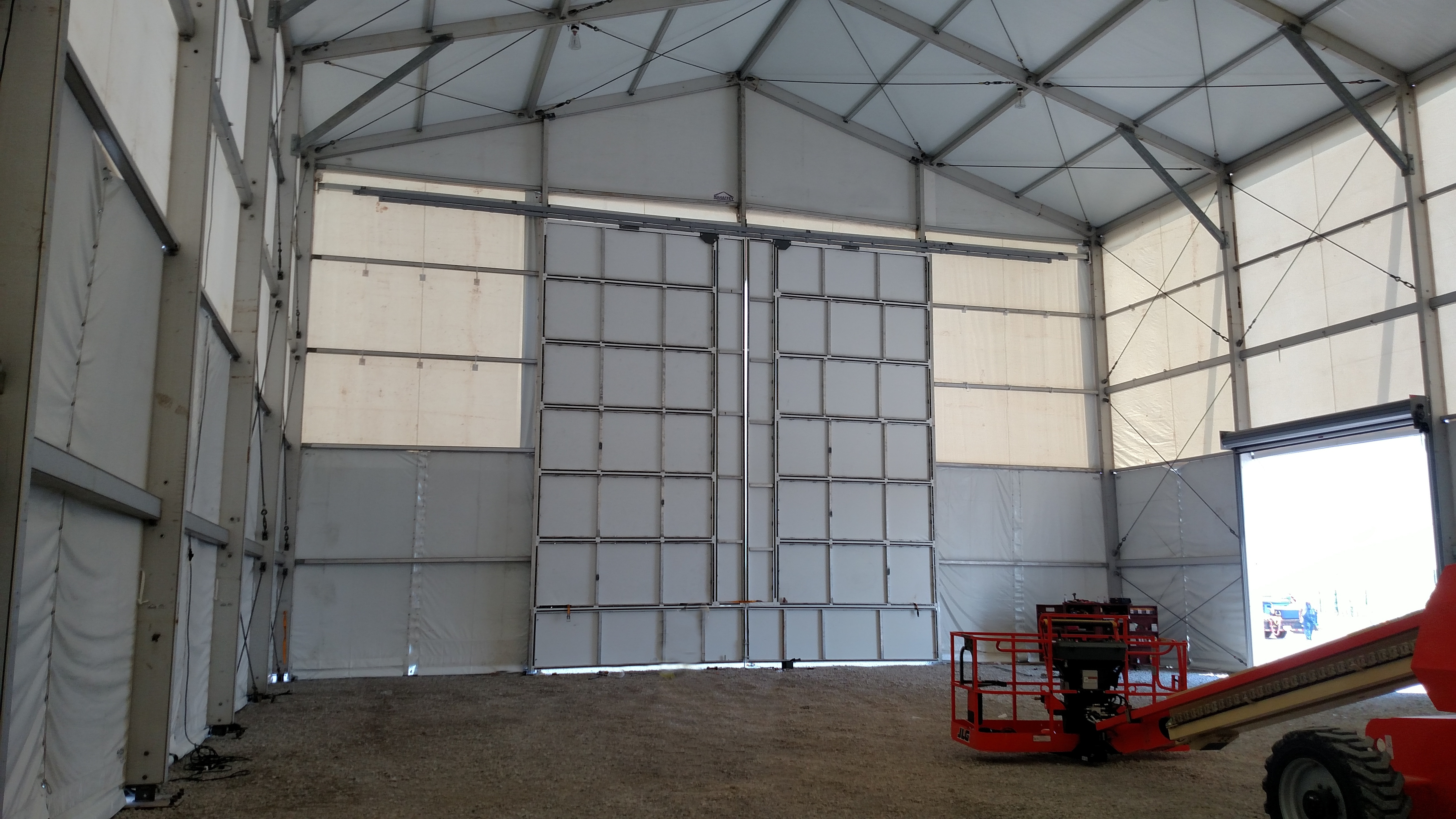 Barn door on temporary structure interior