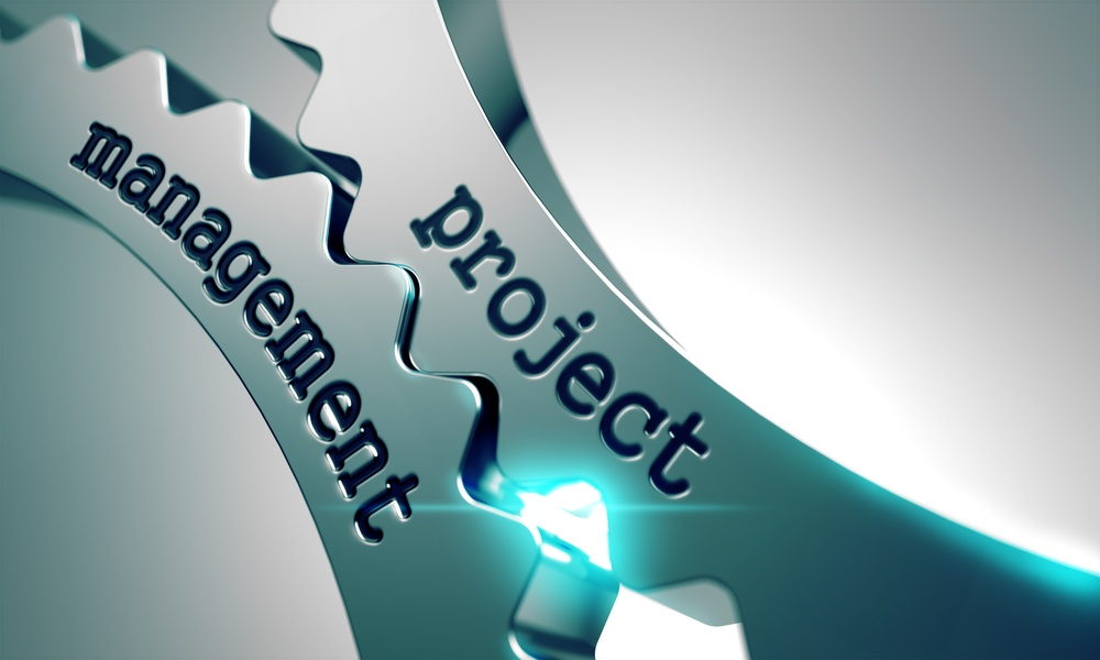 Project Management Concept on the Mechanism of Metal Cogwheels.