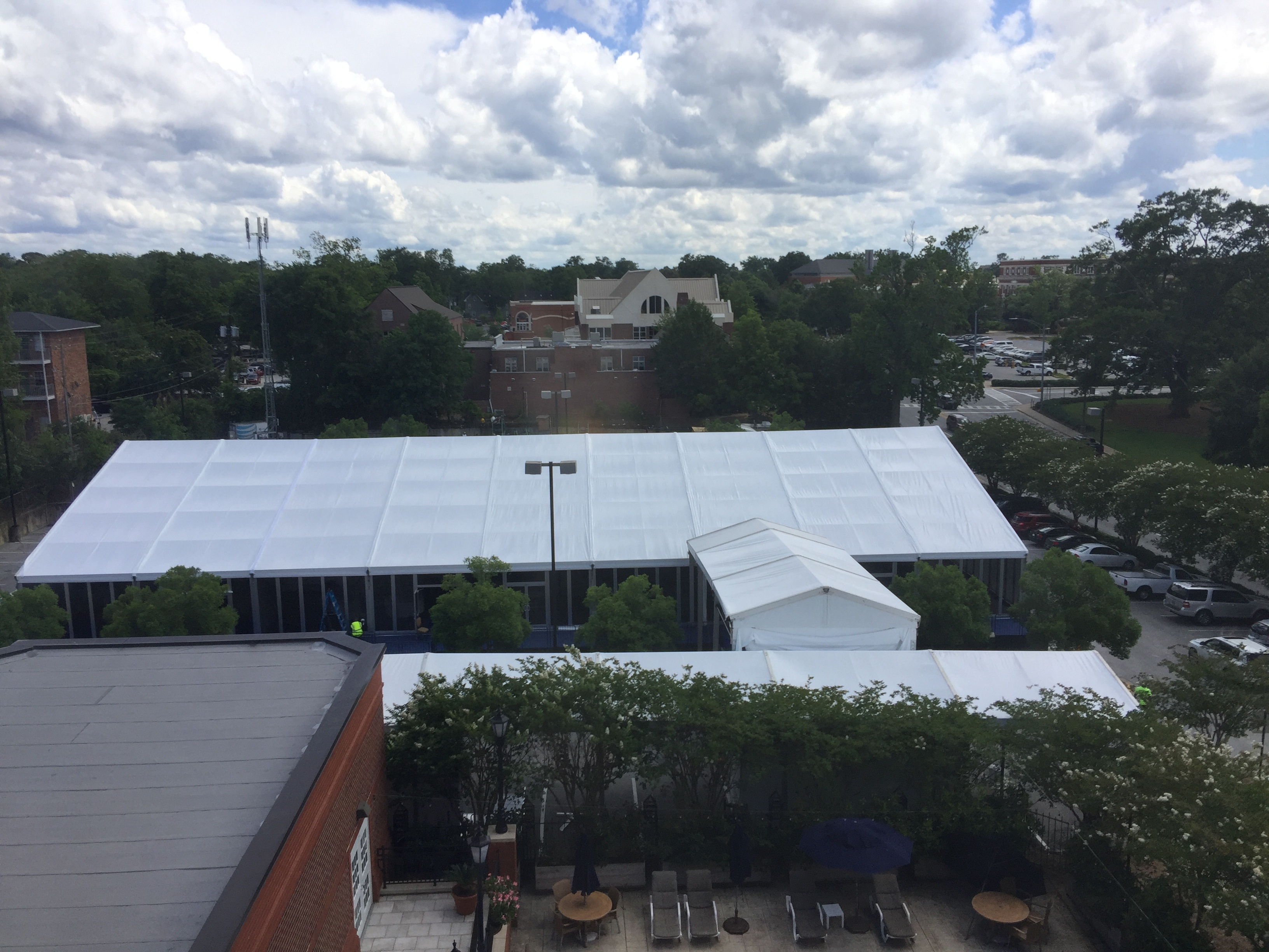 Outside view of elegant conference center tent.