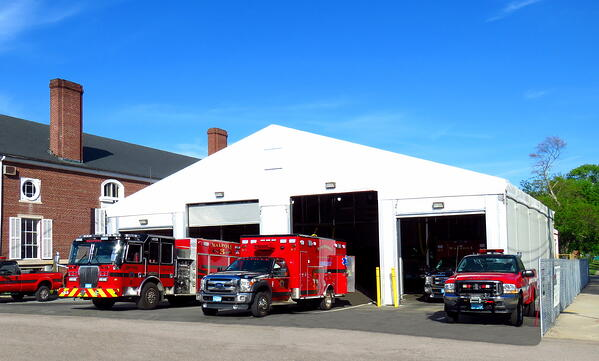 Temporary Fabric Structure being used as a Firehouse.