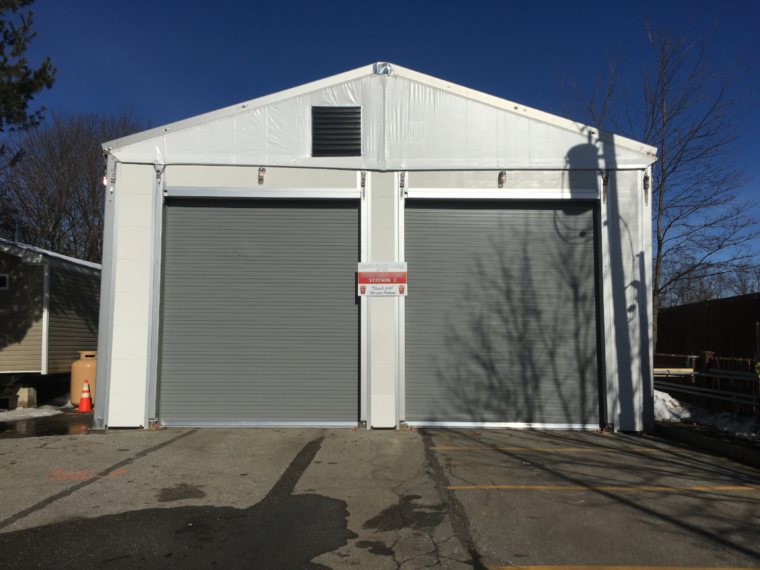 Temporary firehouse exterior